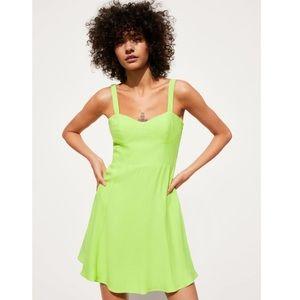 zara lime green flowy dress